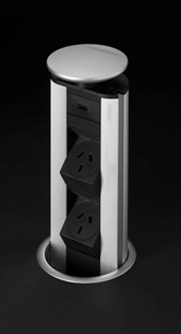 EVOline Benchtop Pop-up Power Tower - 2x Power, 1x USB Charger