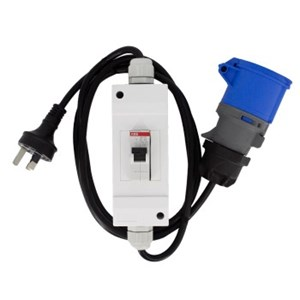 Elmark Caravan Supply Adaptor to Domestic 3Pin Socket 1.2mtr