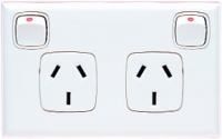 HPM Excel 10A Double Horizontal Socket - White