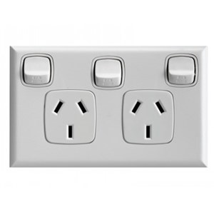 HPM Excel 10A Double Horizontal Socket with Extra Switch - White