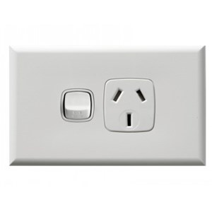HPM Excel 15A Single Horizontal Socket - White