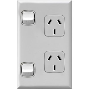 HPM Excel 10A Double Vertical Socket - White