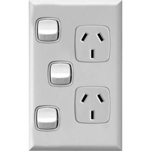 HPM Excel 10A Double Vertical Socket with Extra Switch - White