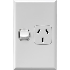 HPM Excel 10A Single Vertical Socket - White